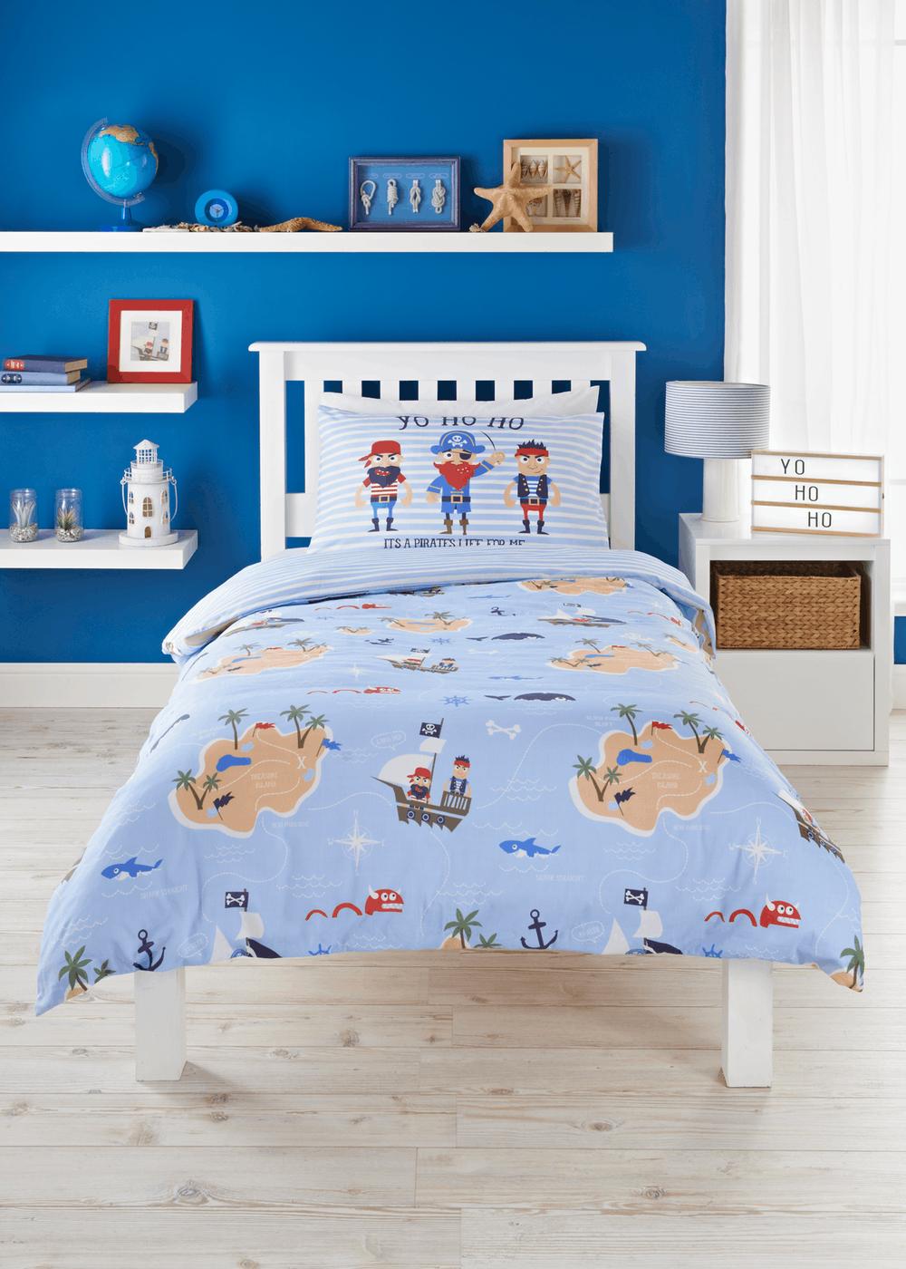 Baby Pirates Boys Duvet Sets Blue Bedding Children Duvet Covers Curtains 100% Cotton