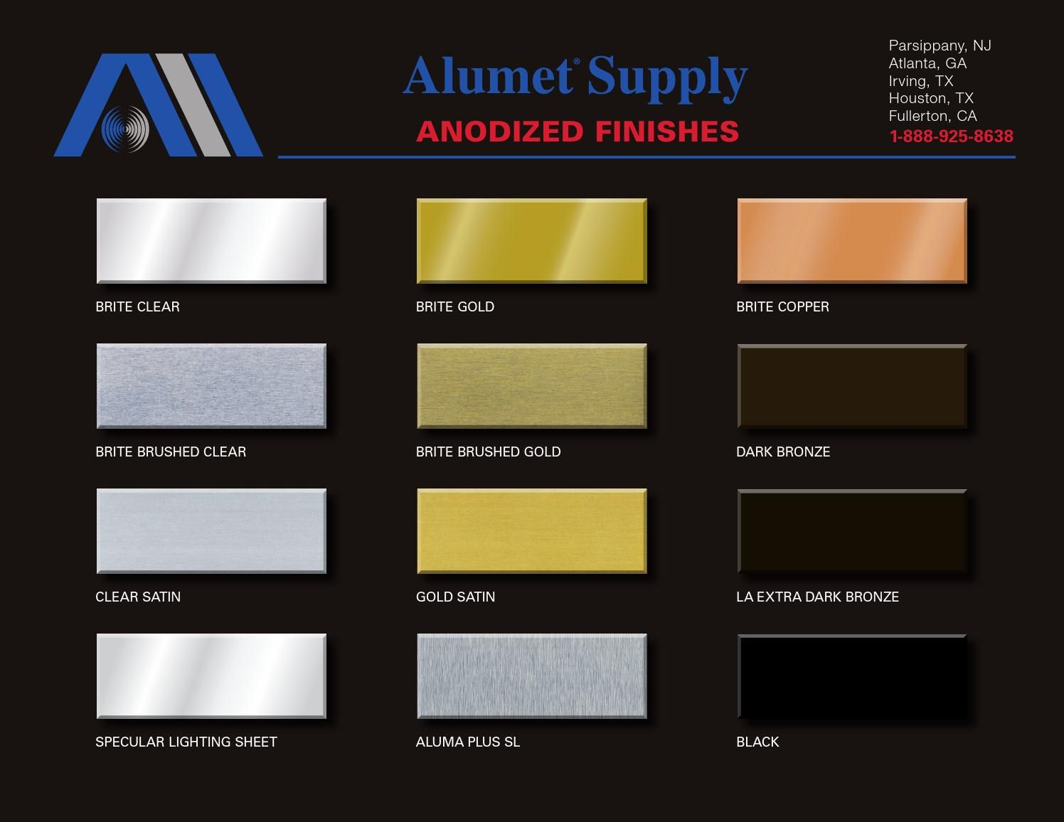 Alumet Anodized Finishes Color Chart