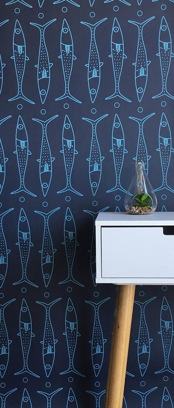 removable wallpaper peel and stick wallpaper wallpaper coastal decor fish wallpaper. Black Bedroom Furniture Sets. Home Design Ideas
