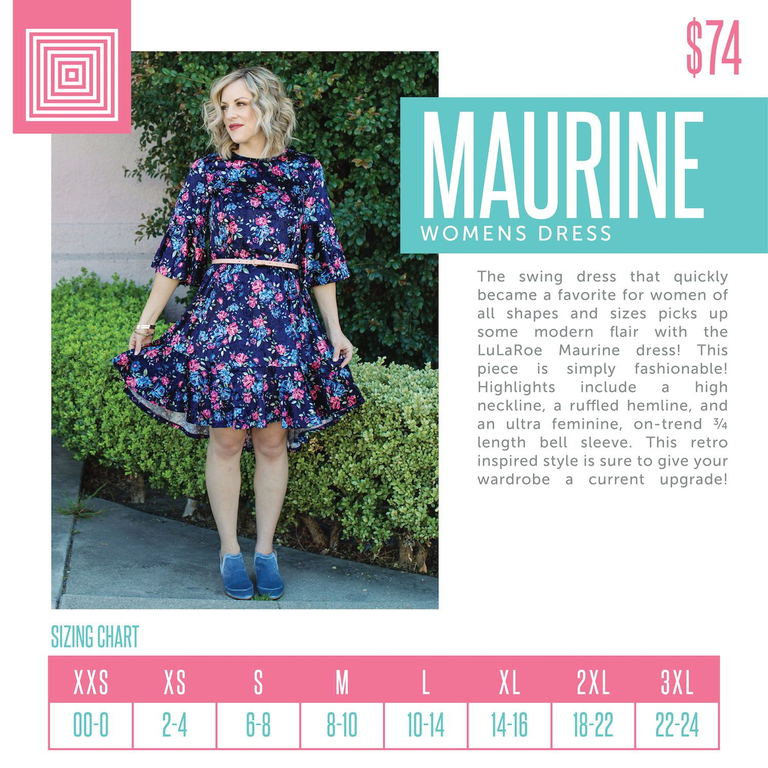 616c092b790 Introducing the brand new LuLaRoe Maurine. This retro-inspired dress  features bell sleeves and a ruffled bottom. #lularoe #lularoedress