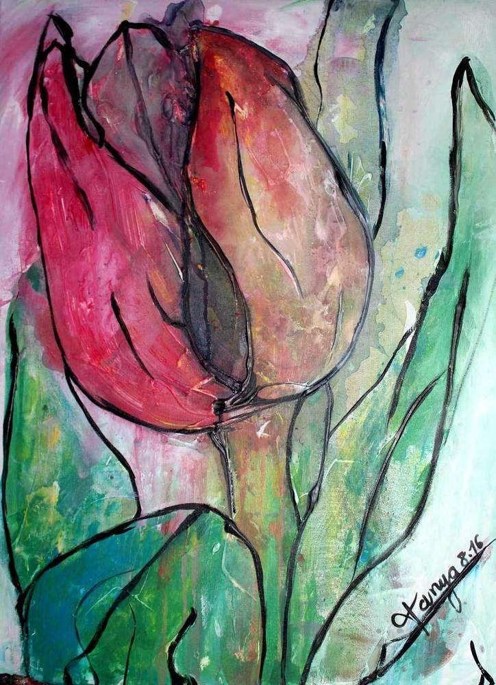 Kunst Gemälde gemälde acryl tulpe kunst 50x70 abstrakte malerei original