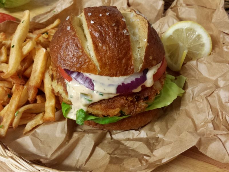 Crab Cake Sandwich - one of the best crab cake sandwiches there is! It's moist and crispy and delicious!