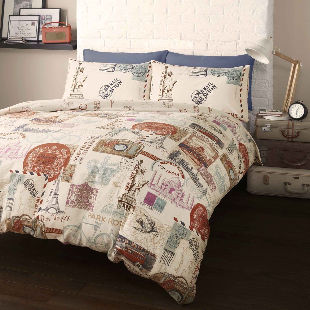 Around the world stamps design single and double duvet sets around the world stamps design single and double duvet sets catherinelansfield gumiabroncs Gallery