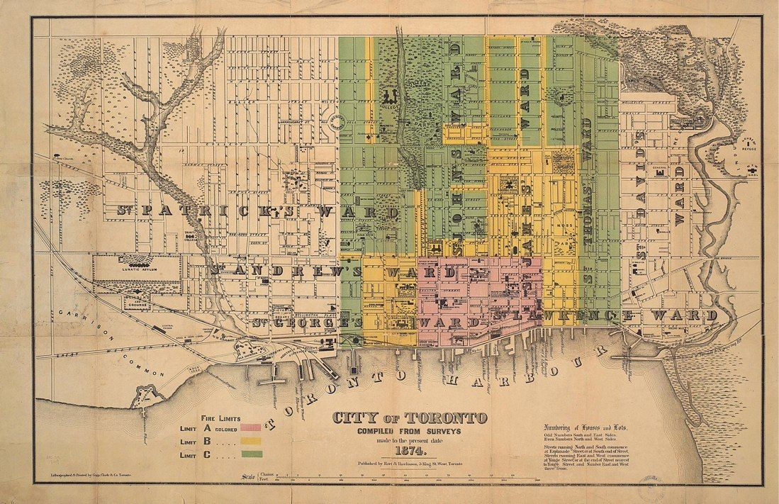 1874 Hart & Rawlinson City of Toronto with Fire Limits