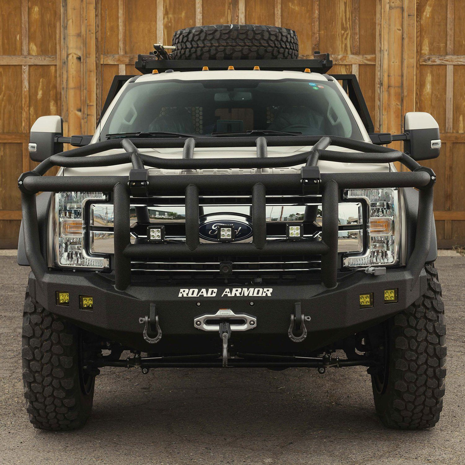 Road Armor Stealth Series Full Width Front Winch Hd Bumper With Intimidator Brush Guard Custom Truck Bumpers Custom Trucks Truck Bumpers
