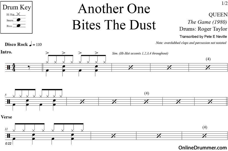Another One Bites The Dust Queen Drum Sheet Music Queen