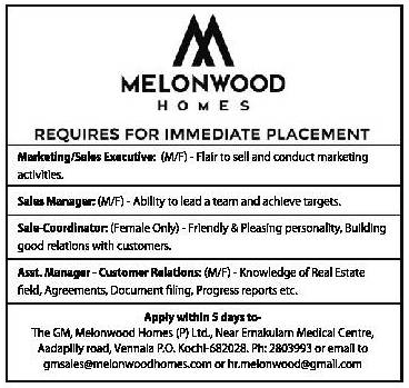Melonwood Homes In Ernakulam Requires Marketing Or Sales Executive