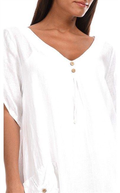 Buyinvite.com.au   Couleur Lin Linen Amel Tunic White