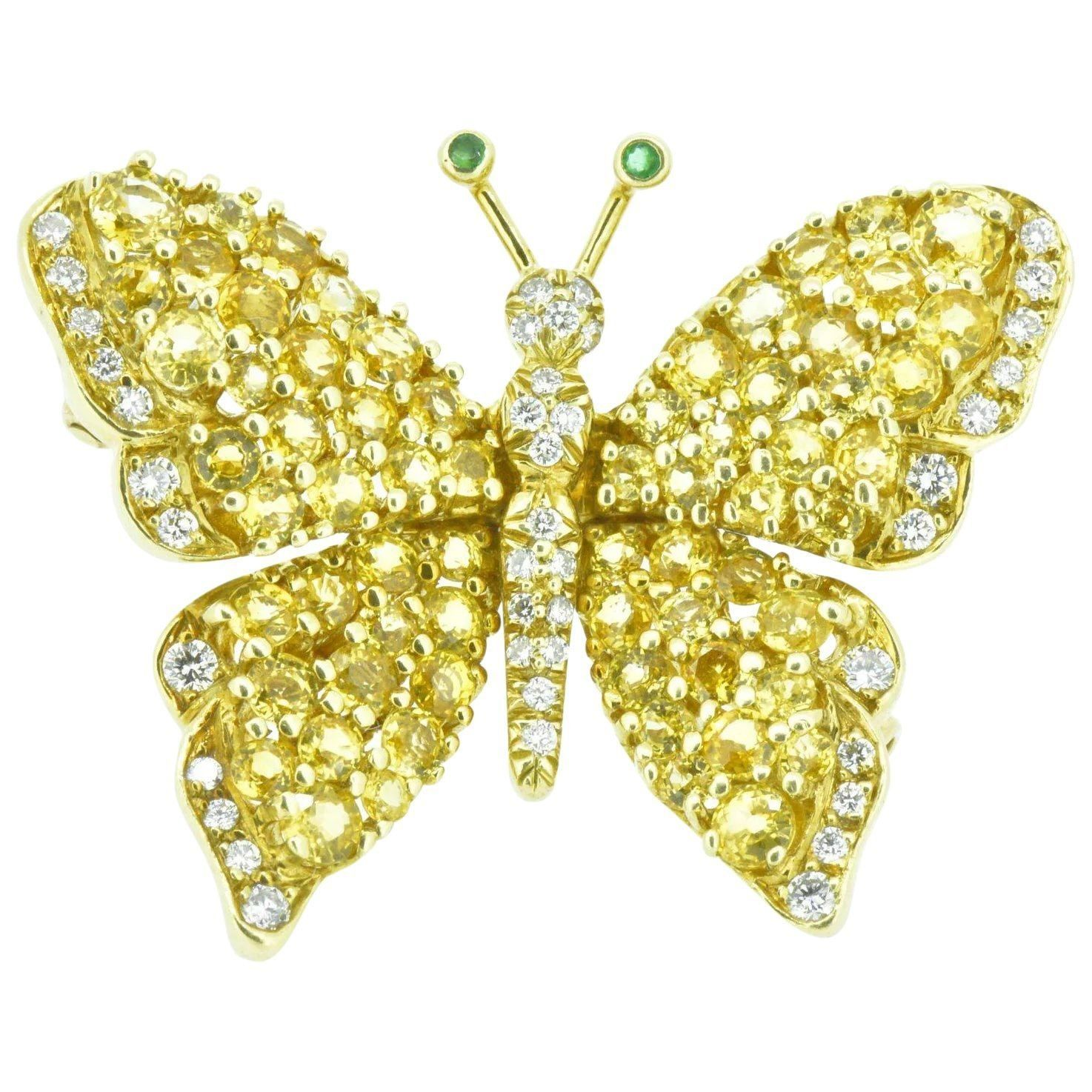 18KT Yellow Gold Pin with Pink and Blue Butterfly