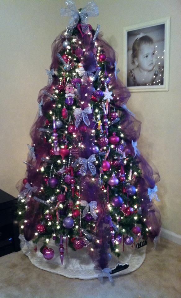 Our Christmas Tree This Year Pink Purple And Silver Tulle Is A G Purple Christmas Tree Purple Christmas Tree Decorations Silver Christmas Tree Decorations