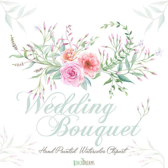 Watercolor Wedding Bouquet Roses Flowers Jasmine por ReachDreams