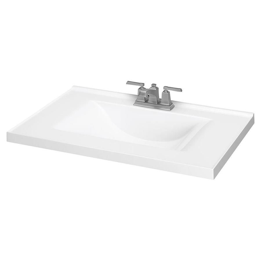 White Cultured Marble Integral Bathroom Vanity Top Common 31 In