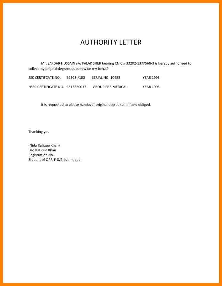 Authorization Letter To Get Documents Authorization Letter