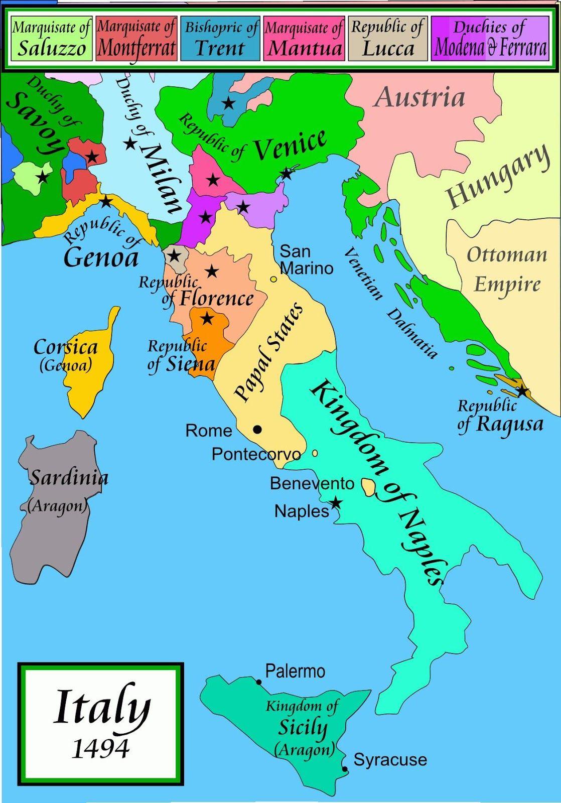 Italy 1494 Italy Map Republic Of Venice Map