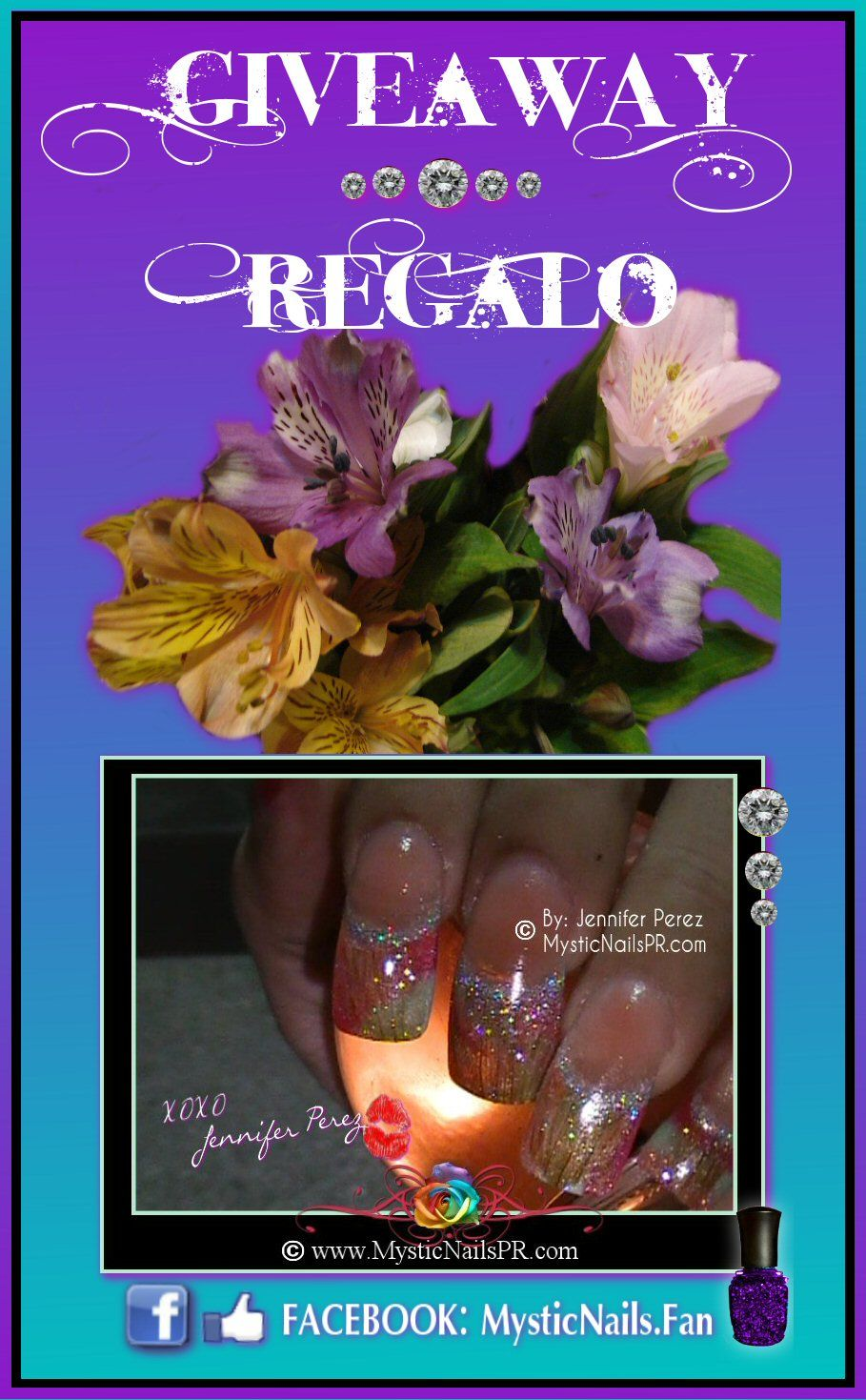 Hi ladies! FREE GIVEAWAY ~ Rules are on the Video, good luck. XOXO Jennifer {}♥{}{}{}♥{} ¡Hola chicas! REGALO - SORTEO GRATIS ~ Las reglas están disponibles en el video. ¡Suerte! XOXO Jennifer  MORE INFO ~ MAS INFO https://www.facebook.com/MysticNails.Fan