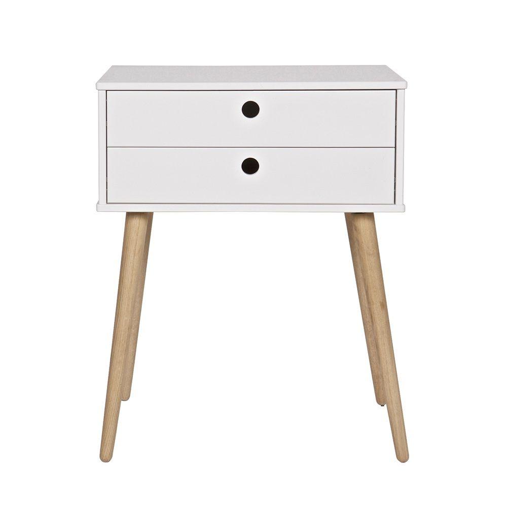 Best Scandinavian Style Bedside Cabinet Retro 2 Drawer Side 640 x 480