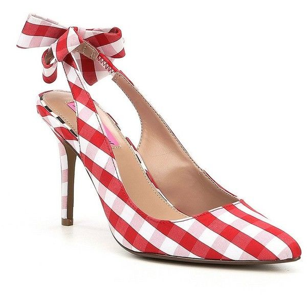 413e84b4806 Betsey Johnson Ginjer Gingham Bow Slingback Pumps ( 69) ❤ liked on Polyvore  featuring shoes