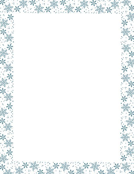 Blue snowflake border paper Free downloads at    pageborders - border paper template
