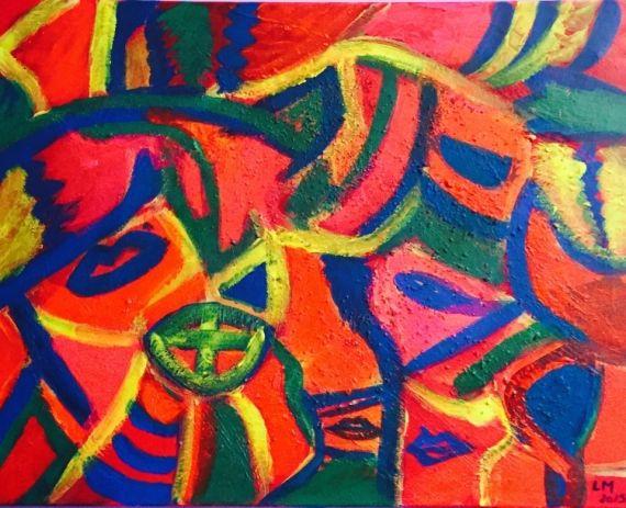 Tableau Peinture Joie Colorée Bonne Humeur Vivant Abstrait Acrylique