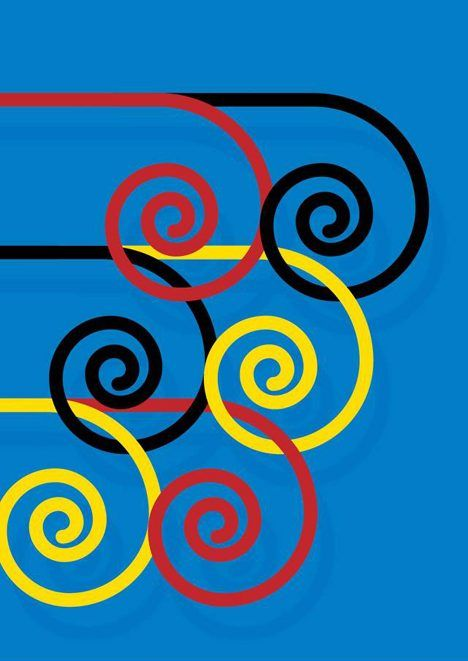 Cores em Copetição by Guto Lacaz plays on the notion of speed with interlocking colourful swirls