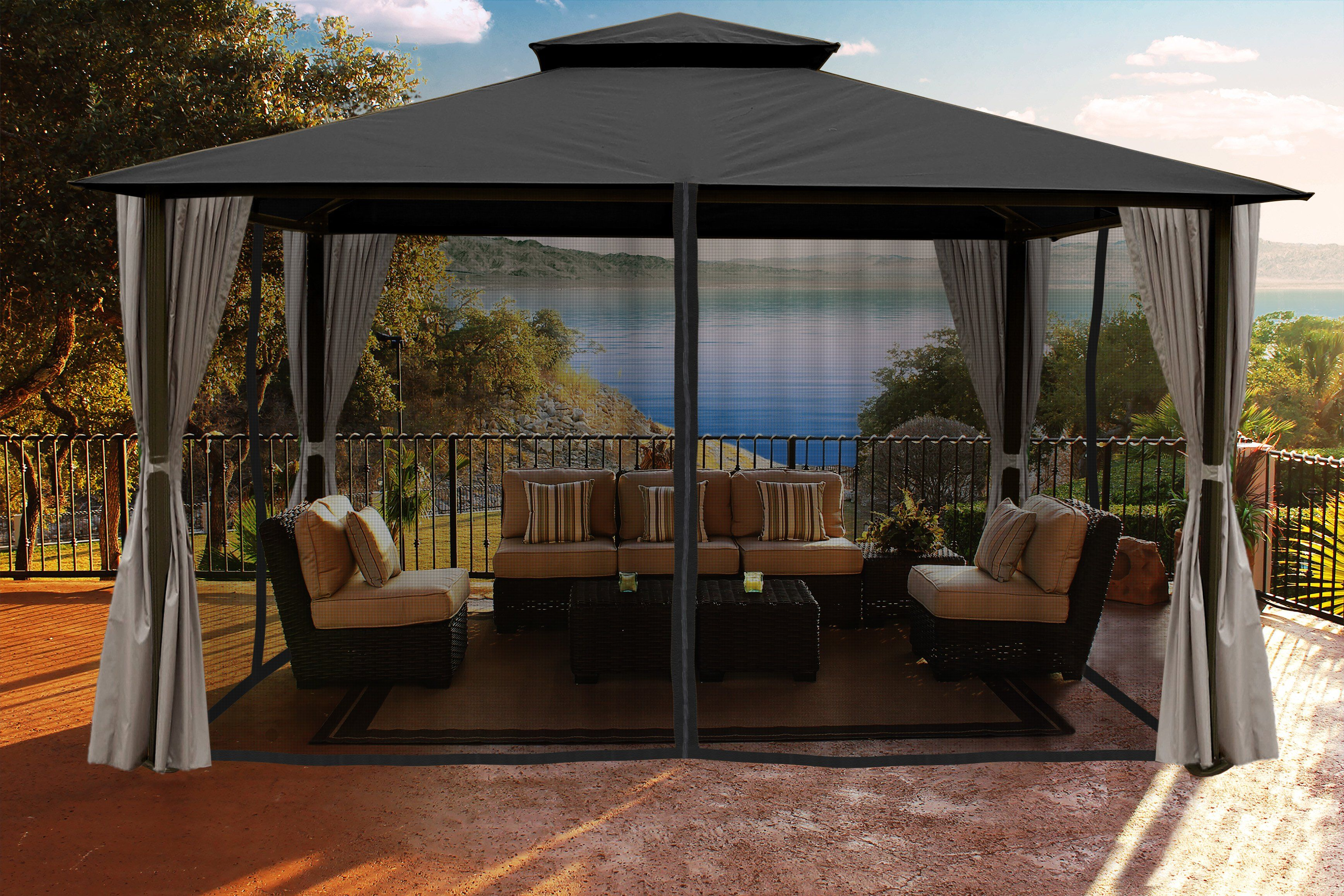 Paragon Outdoor Sedona Gazebo With Grey Color Roof And Privacy