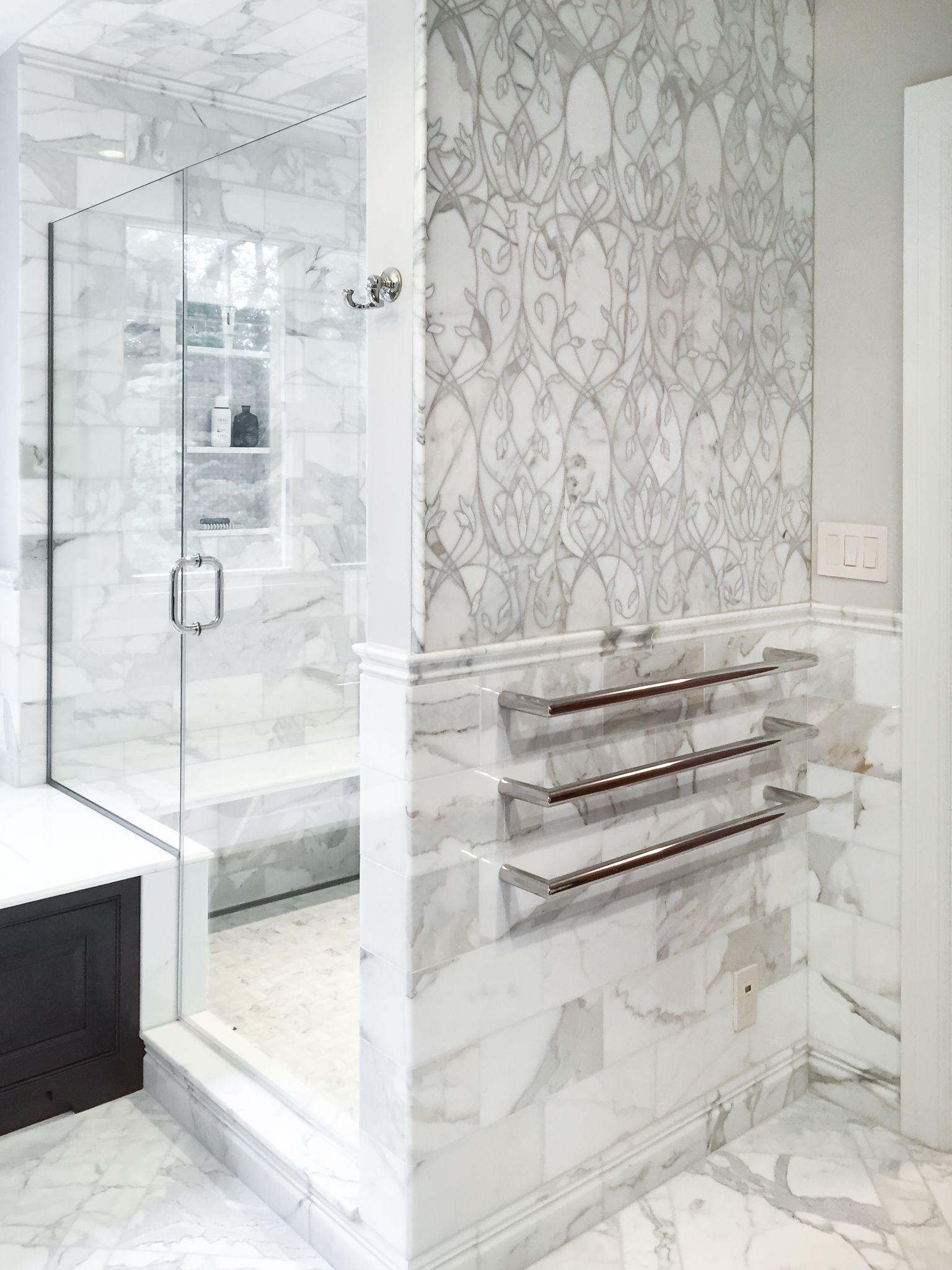 Artistic Tile I This master bathroom is all Calacatta Gold, from the ...