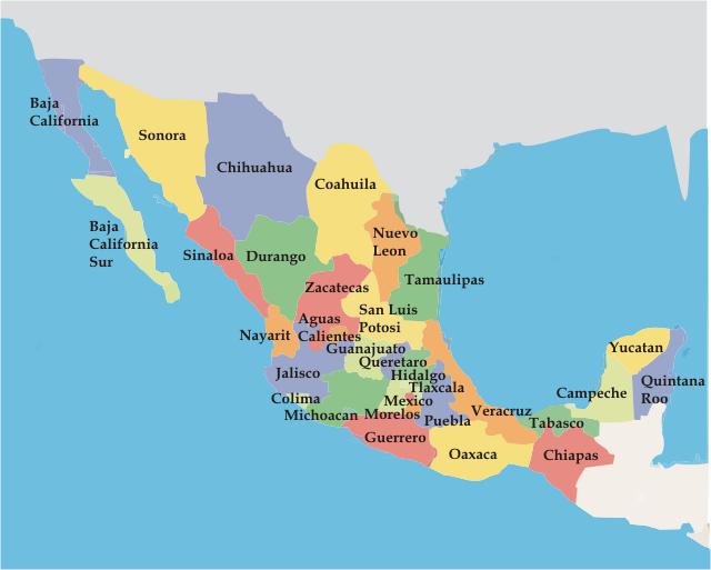 Estados De Mexico Mapa.Republica Mexicana Mapa De Los Estados Mexicanos Mexico