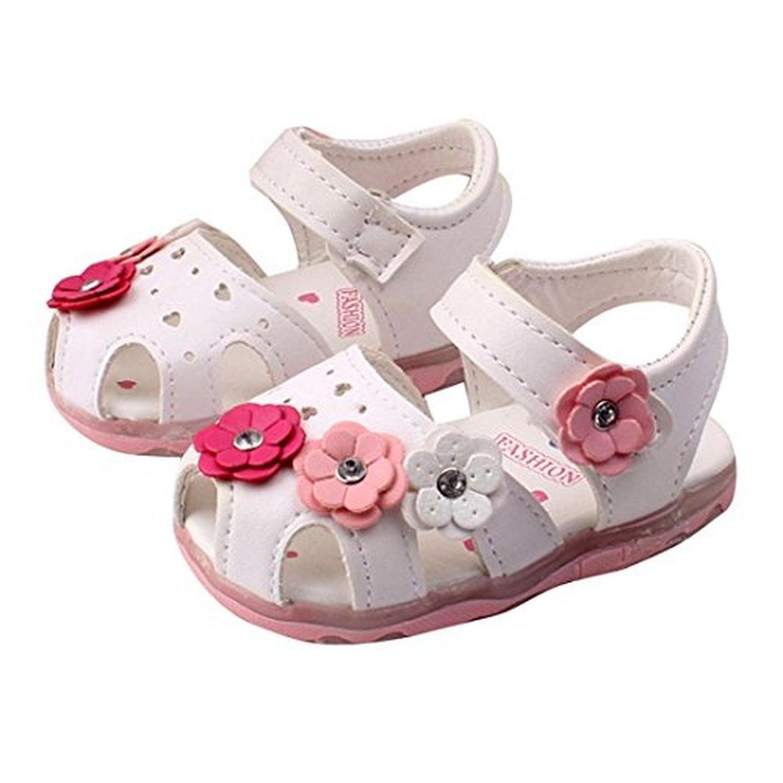 Binmer TM Baby Flowers Girls Sandals Lighted Soft Soled Princess