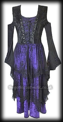 Black & Purple Velvet Sequinned Gothic Dress