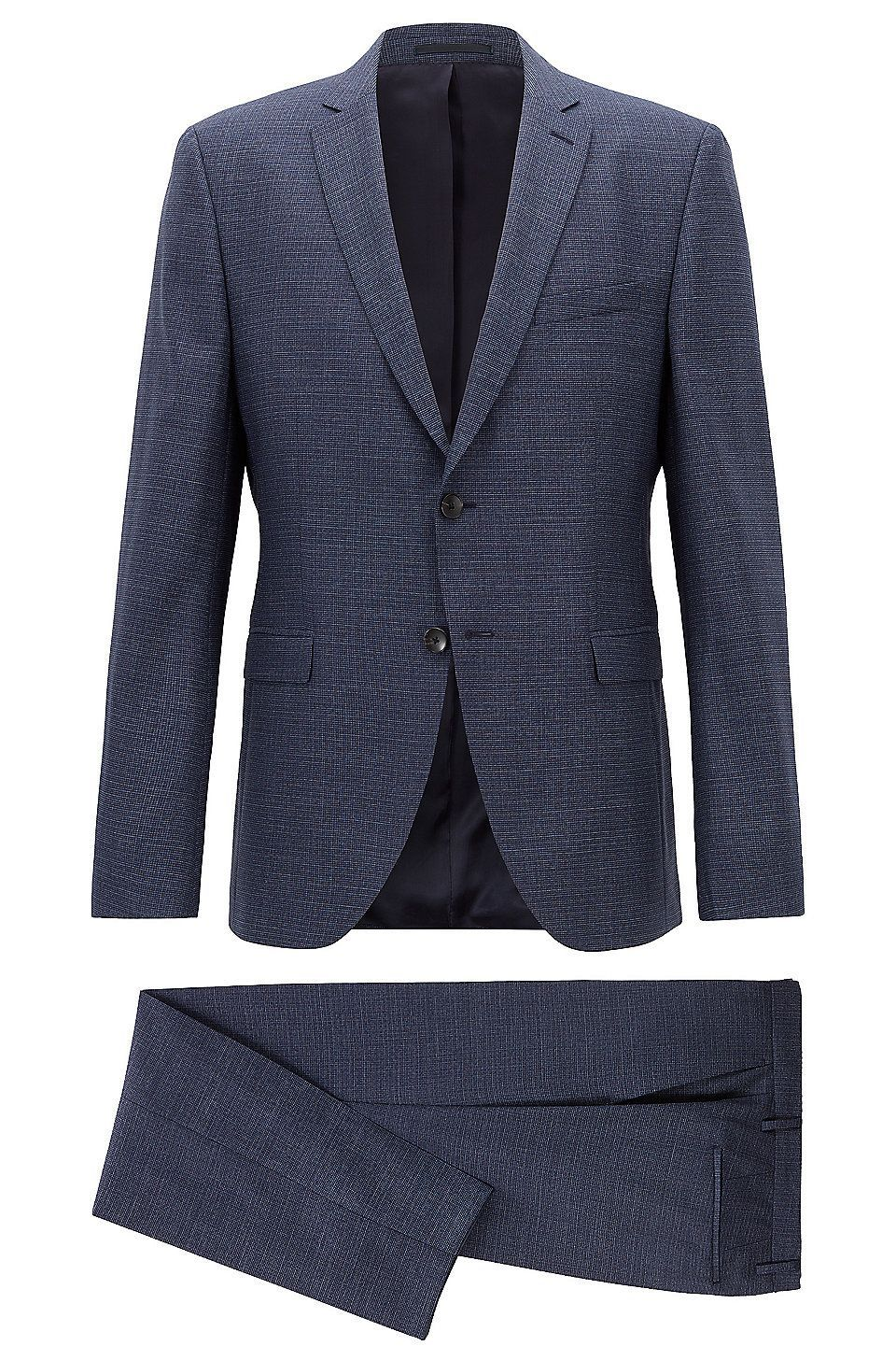 ece2f06d3 Hugo Boss Extra-slim-fit virgin-wool suit with pattern - Dark Blue Business  Suits from BOSS for Men in the official HUGO BOSS Online Store free shipping