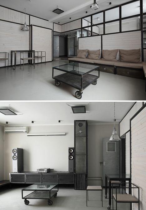 Machine Age Apartment Modern Black Steel Plush White