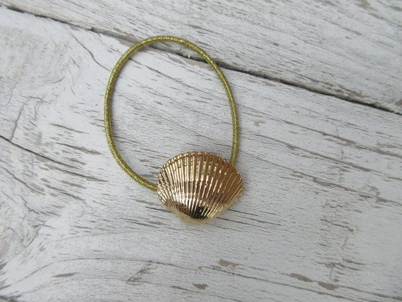 Elegant Gold Seashell Ponytail Holder Beach Nautical Accessory Boho