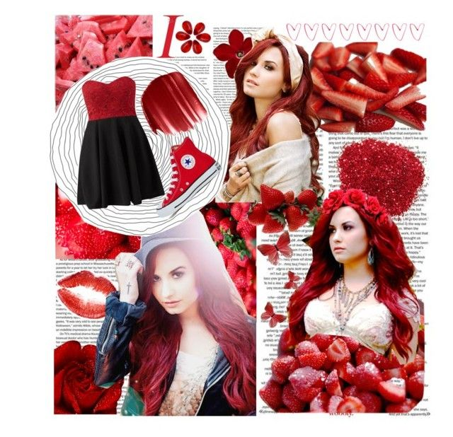 """""""Demi Lovato + Red"""" by beadances ❤ liked on Polyvore featuring Cameo Rose, Urban Decay and Converse"""