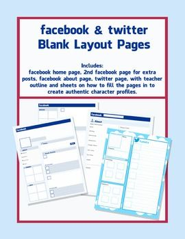 Facebook and Twitter Character Pages - blank Templates | Fictional ...