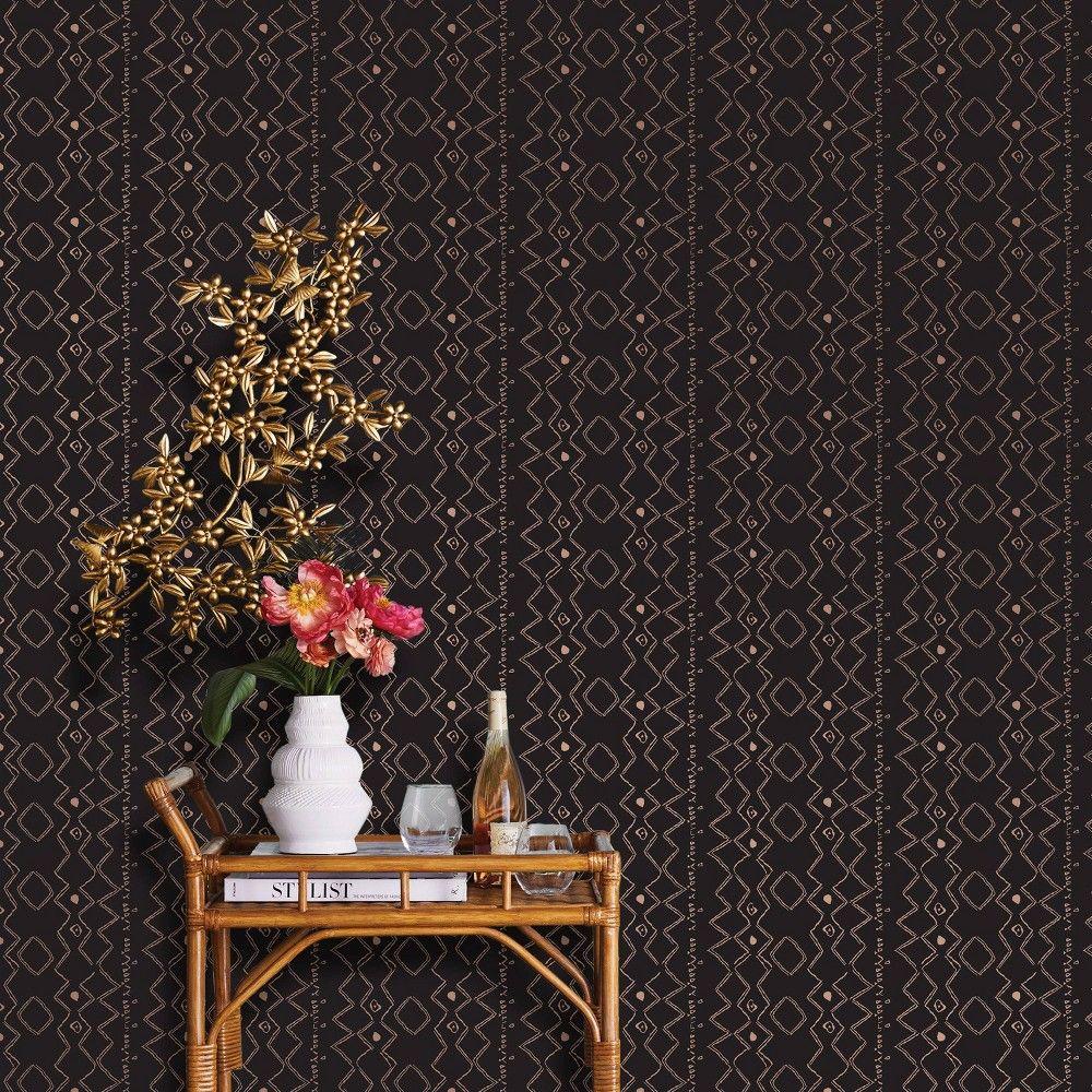 Metallic Ritual Global Peel Stick Wallpaper Brown Opalhouse Peel And Stick Wallpaper Opalhouse Target Wallpaper