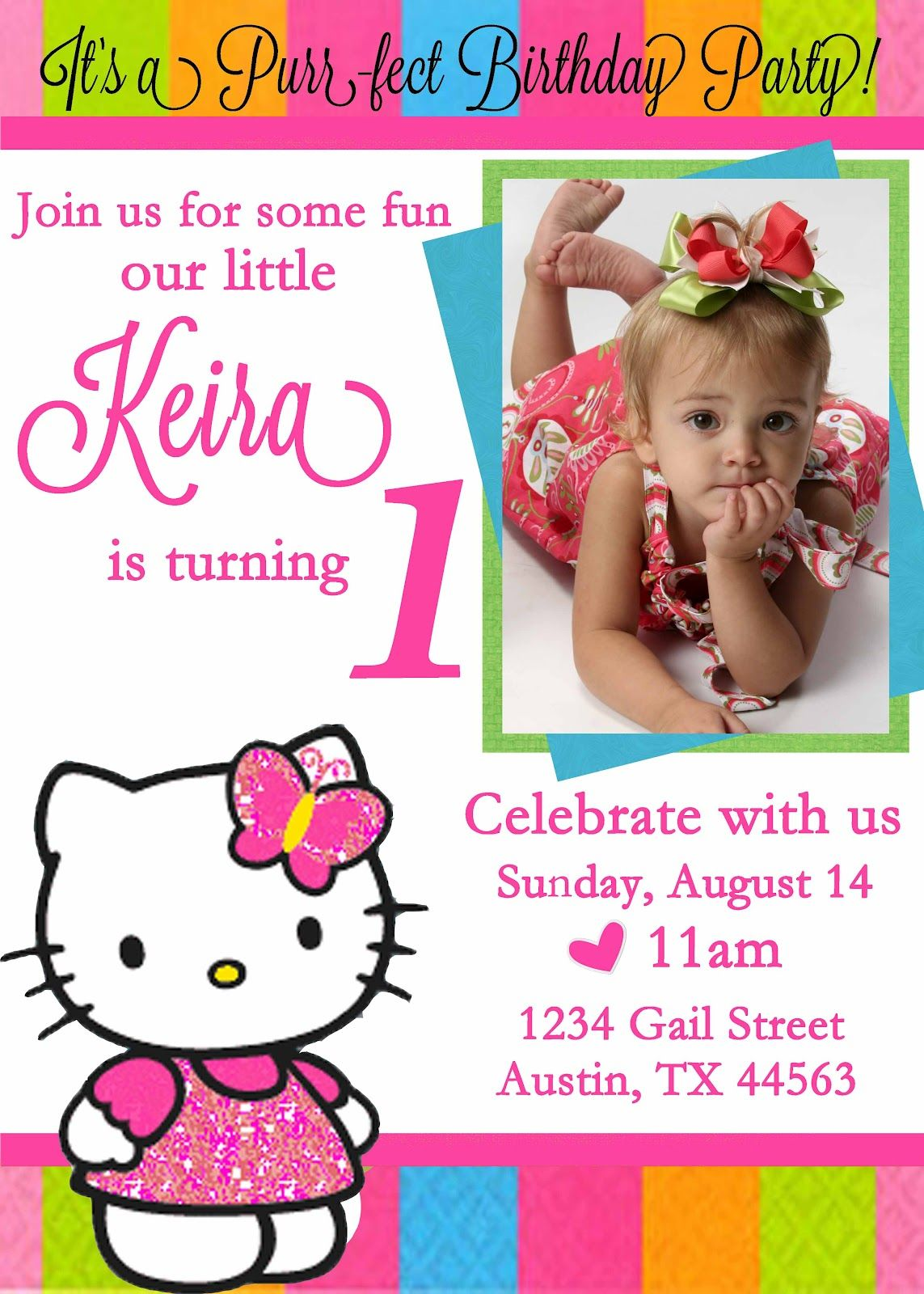 Free Personalized Hello Kitty Birthday Invitations – Toddler Girl Birthday Invitations