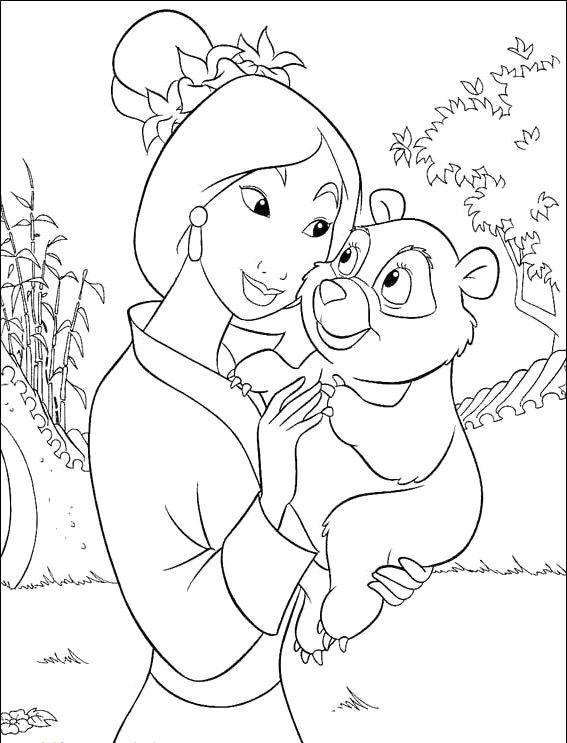 print the mulan and child panda coloring pages and then fill it with crayons or colored