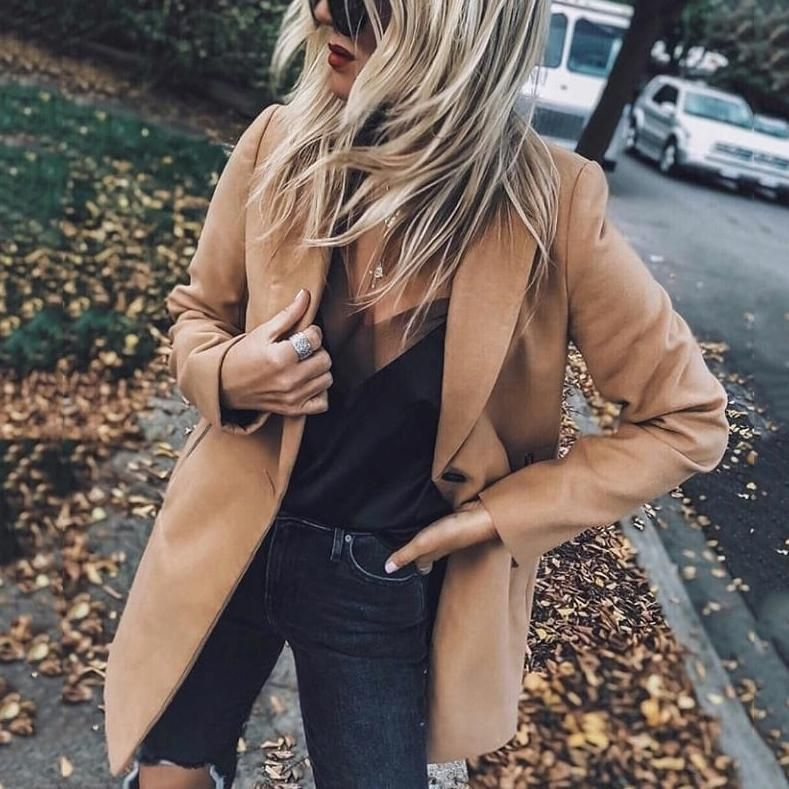 Fashion Lapel Collar Plain Packet Long Coat