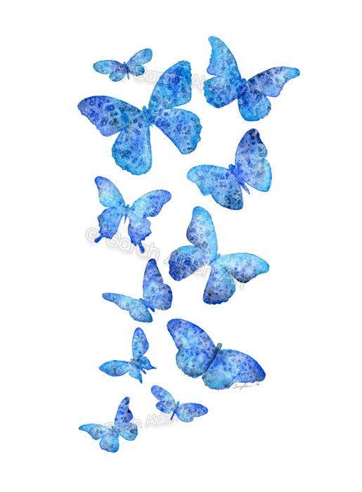 Blue Butterfly Art Print, Watercolor Butterflies Painting ...