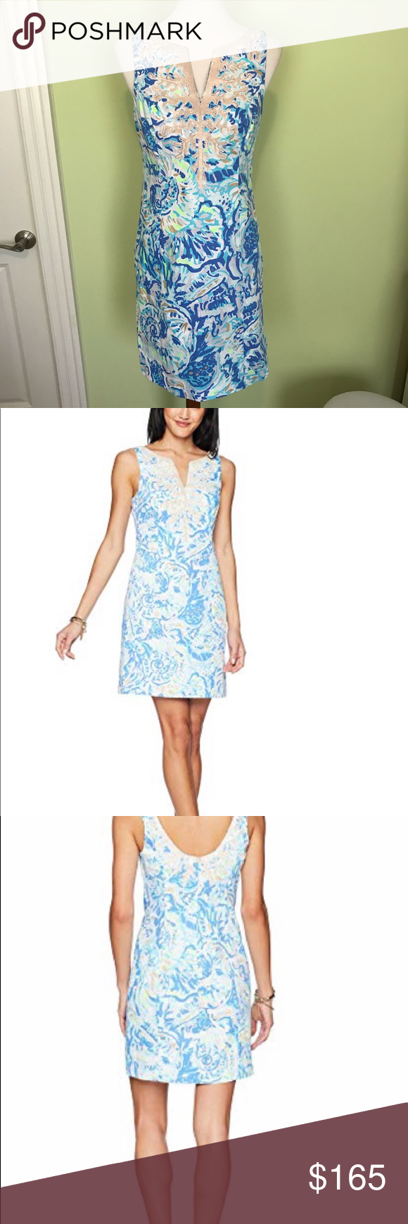 ec7f9c0c51d50c Lilly Pulitzer NWT 💕dress sz 4 Brand new with tags Lilly Pulitzer Gabby  Shift in Bennet Blue salty Sea..showstopper.. zipper..low back.. nude color  ...