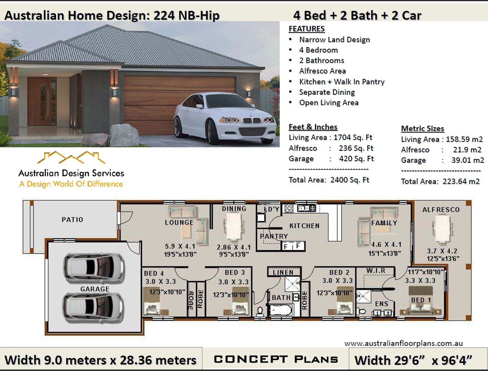 223 M2 Or 2400 Sq Foot Australian 4 Bedroom House Plan Etsy In 2021 Narrow Lot House Plans Narrow House Plans House Plans Australia