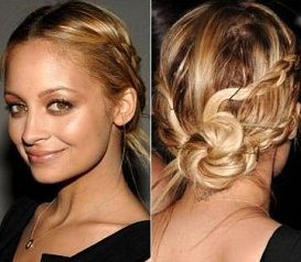 Blonde with a low twisted knot updo with pulled back braided sides hairstyle
