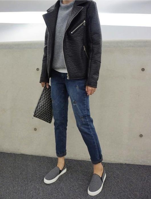leather / grey / denim / sneaks