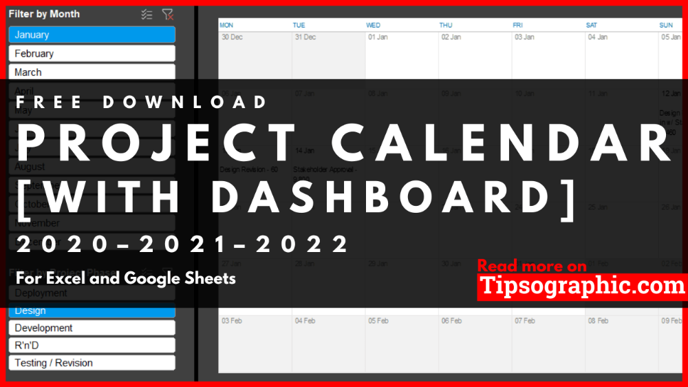 Project Calendar Template For Excel With Dashboard Free Download 2020 2021 2022 In 2020 With Images Calendar Template Excel Calendar Template Excel