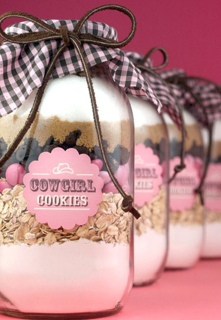 Cookie mix in a jar makes for a unique and delicious wedding favour.