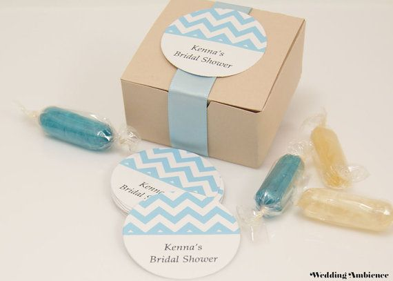 Round Favor Labels - Chevron - Personalized Stickers for Wedding Favor Boxes, Bridal Shower Favors, Party Favors, Gift Wrap