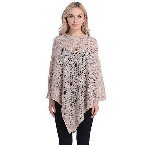 d204793dc3ed75 Sefilko Womens Pierced Poncho Tops Shawl Cape Sweater Batwing Blouse for  Lady