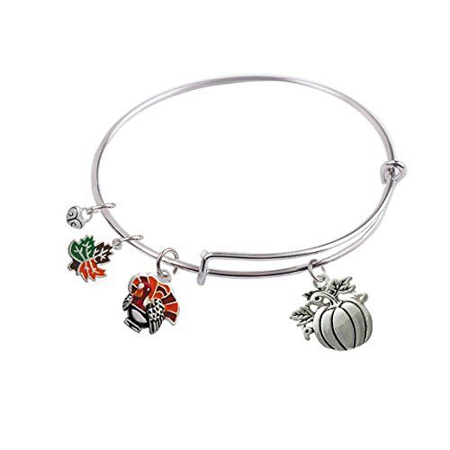 65 mm, Expandable Bangle bracelet with Thanksgiving Turkey, Pumpkin, Maple Leaf and Silver Plated Small Heart Charm, in the Alex and Ani Style, Qty:1 CoquelicotPoppy http://www.amazon.com/dp/B016M48KV8/ref=cm_sw_r_pi_dp_njGywb0G2C16X