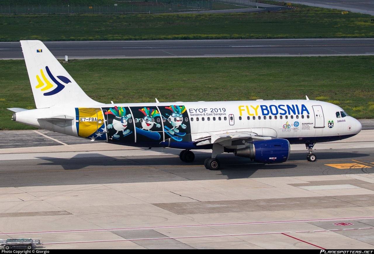 Flybosnia Airbus A319 112 E7 Fba Sarajevo At Naples Capodichino October 2019 Special Livery Featuring Groodvy The Zany Mascot Of The 2019 In 2020 Airbus Fba Photo