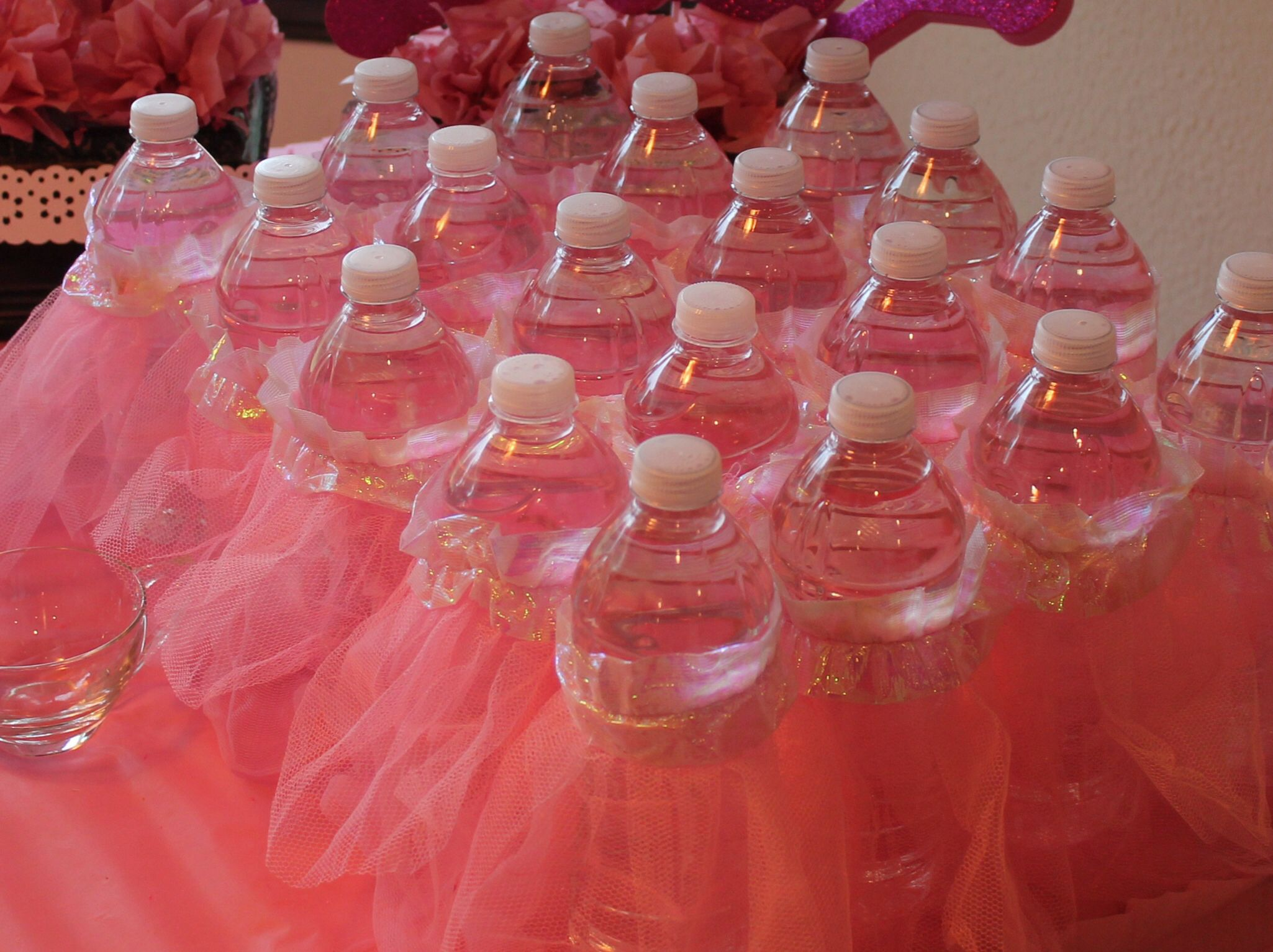 Baby Shower Decorations Idea: Peel Labels Off Water Bottle And Add Tutus